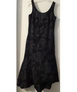 FRESH PRODUCE Long Black Gray Floral Knit Dress Sleeveless Asymmetric He... - $22.27