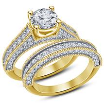 14k Gold Plated 925 Silver Round Cut White CZ Solitaire Wedding Bridal Ring Set - $87.99