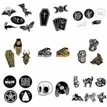1-6pcs/set Punk Dark Brooch Collection Enamel Pins Skull Bat Witch Skeleton - $3.79+