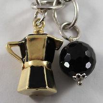 925 STERLING SILVER BRACELET BLACK ONYX, ENAMEL PENDANT GRINDER COFFEEPOT TEAPOT image 5