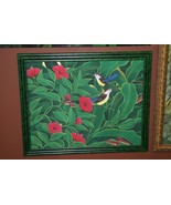 Hand painted Custom Framed Original Canvas Signed Art Jungle Birds Flora... - $379.99
