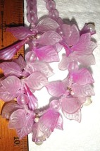 VTG LUCITE FROSTED PINK BUBBLE ORANGE TASSEL FLAPPER LILAC FLORAL NECKLA... - $187.99