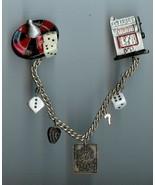 Gambling Collar Pin Roulette Wheel, Slot Machine, Dice, Lucky 7, Wild Ca... - $15.00