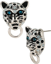 BETSEY JOHNSON WHITEOUT SNOW LEOPARD STUD EARRINGS NWT - $30.00