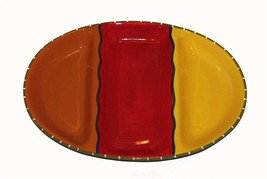 "Large Red Orange Yellow Blue Color Block Divided Ceramic 17"" Tray Platter NIB - $28.99"