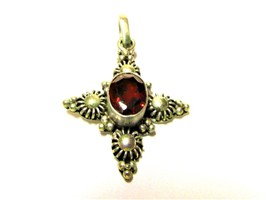 P84 ANTIQUE LOOK CROSS WITH FACETED GARNET PENDANT SET IN 925 STERLING S... - $11.88