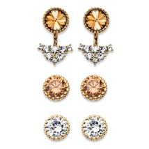 PalmBeach Jewelry Crystal Gold Tone 3-Pair Ear Jacket and Stud Earrings Set - $23.99