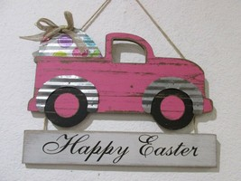 "Happy Easter Pink Truck With Egg Wall Sign Plaque Decor 11x14"" - $19.99"