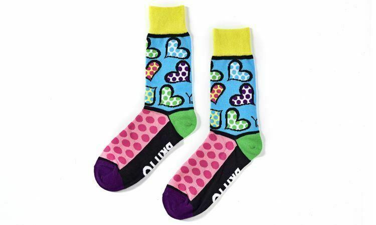 Romero Britto Woven Crew Socks Woman's Fits Size 6-10 Hearts & Dots #334351