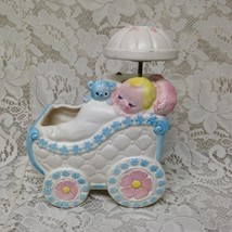 Vintage, Napcoware Japan, Musical Planter, Baby in Carriage 8in H 6in L ... - $23.70