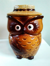 Vintage Mid-Century Owl Cookie Jar, Brown Ceramic Owl Cookie Jar , Made ... - $38.90