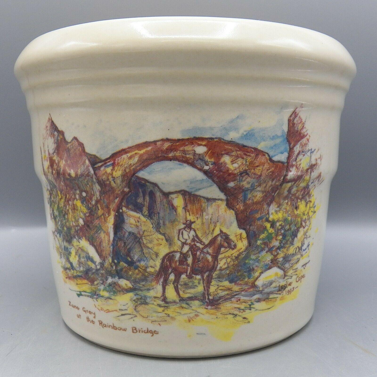 Zanesville Stoneware Zane Grey At Rainbow Bridge Leslie Cope Vase Pot Pottery image 6