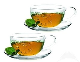 Sun's Tea TM 8oz Ultra Clear Glass Tea/Coffee Cup & Clear Glass Saucer, ... - $21.15