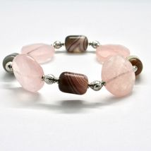 SILVER 925 BRACELET LAMINATED GOLD PINK WITH QUARTZ ROSE AND CHALCEDONY image 3