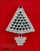 Eisenberg Ice Green and Clear Rhinestones Christmas Tree Shaped Brooch P... - $39.39 CAD