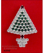 Eisenberg Ice Green and Clear Rhinestones Christmas Tree Shaped Brooch P... - $30.00