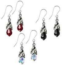 Alchemy Gothic Empyrean Tear Crystal Black Red Rainbow Dangling Earrings E437 - $18.95