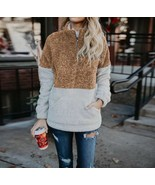 Colorblock Sherpa Women's Pullover Plush Warm  Fuzzy Fleece Tops Sweater - $34.64
