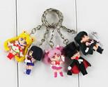 5Pcs/Lot Cartoon Anime Sailor Moon Mars Jupiter Venus Mercury Keychains PVC Figu