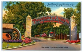 Mid-1900s San Marco Avenue, Fountain of Youth, St. Augustine, FL Postcard - $3.95