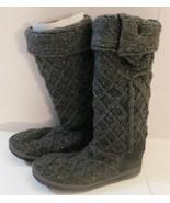 UGG Australia Gray Lattice Knit Cardy Boots Size 6 - $44.99