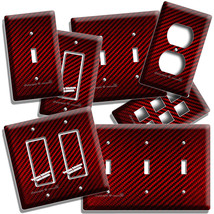 Red Carbon Fiber Look Light Switch Outlet Cover Wall Plate Man Cave Garage Decor - $10.99+