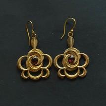 Women Earring Beautiful Designer Natural Garnet Earring Brass Gold Plate... - $9.99