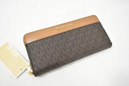 NWT Michael Kors Mercer 'MK' Logo Continental Zip Around Wallet in Brown - $149.00