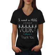 Hug Or Vodka Shirt Funny Quote Women V-Neck T-shirt - $12.99+