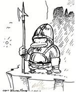 Big Grim Ape on Guard. Original Signed Cartoon by Walter Moore - $9.64