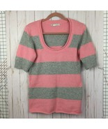 Maurices Pink Gray Striped Sweater Short Sleeve Scoop Neck Stretch Knit ... - $19.95