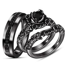 14k Black Gold Plated 925 Silver Round Cut CZ Trio Wedding Ring Set & Free Shipp - $161.86
