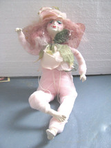 Handcrafted OOAK Flower Fairy Pink Soft Sculpture Posable  Tresslers Fabric - $29.69