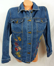 Denim & Co Small Blue Jean Jacket Embroidered Orange Yellow Flowers - $36.58