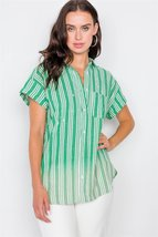Washed Pinstripe Button Down Top - $24.95