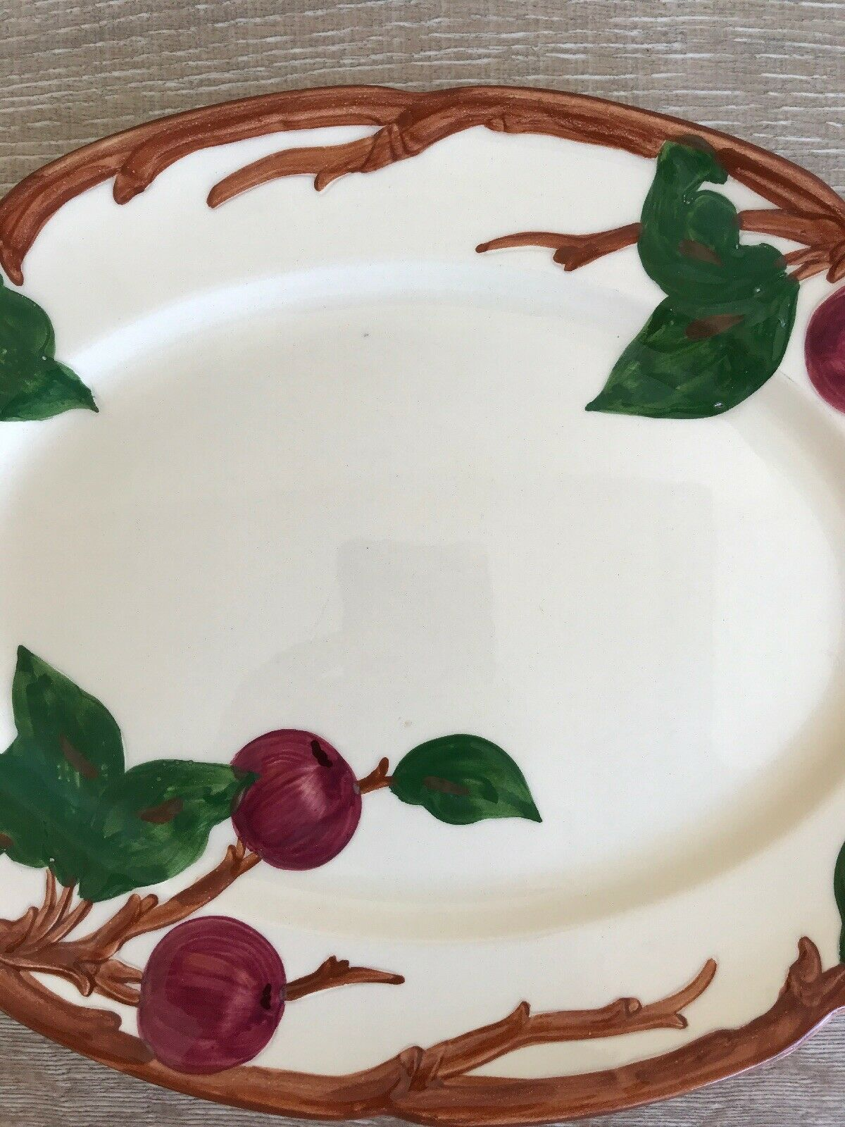 "Vintage Franciscan Apple Oval Serving Platter 14"" x 10"" Made In California image 3"