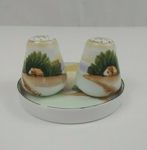 """Meito China Hand Painted House on A Beach Salt & Pepper Shakers & 4"""" Dis... - $12.19"""