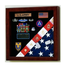 AMERICAN MADE BURIAL FLAG MEDALS DISPLAY CASE SHADOW BOX - $531.99