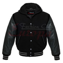 Premium Varsity Black Wool Letterman Hoodie Real Black Leather Sleeves X... - $95.00