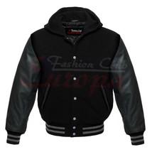Premium Varsity Black Wool Letterman Hoodie Real Black Leather Sleeves XS-4XL - $95.00