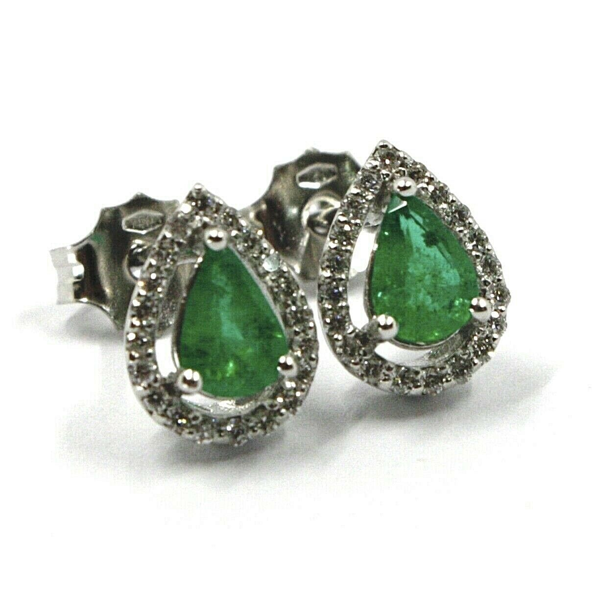 18K WHITE GOLD EARRINGS, EMERALD 0.55 CARATS, DROP CUT, DIAMONDS FRAME 0.18 CT