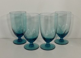 Imperial DAWN Blue Glass Iced Tea Goblet (s) LOT OF 4 Aqua Pinched Stem ... - $39.55