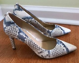 MICHAEL KORS DOROTHY FLEX PUMP DENIM EMBOSSED SNAKE HI HEELS SHOES size ... - $34.62