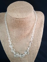 Vintage Glass Crystal Necklace Sterling Clasp - $20.00