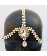 MATHA PATTI HEAD JEWELLERY PEARL HIJAB DECORATION HEAD TIKKA INDIAN ETHN... - $27.08