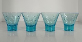 Hazel Atlas CAPRI DOTS Blue Glass On the Rocks Tumbler (s) LOT OF 4 MCM ... - $25.69