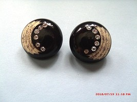 VINTAGE ART DECO CARVED CELLULOID RHINESTONES CLIP ON EARRINGS - $28.00