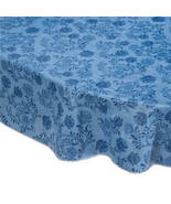 The Kathleen Vinyl Table Cover By Home-Style Kitchen-Blue-60x90-Oblong - $20.24