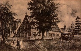 VINTAGE POSTCARD-OLD PRINT OF BOWNE HOUSE-QUAKER MEETING HOUSE,FLUSHING,... - $3.43