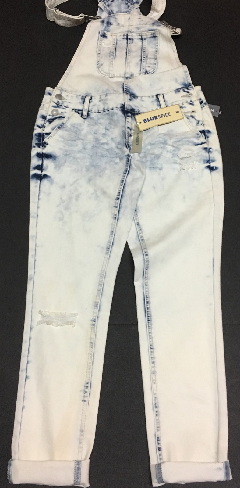 Blue Spice Jean Overalls Juniors Sz 5 Cloud Blue Distressed NWT